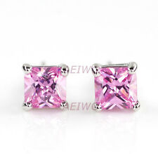 EARRINGS STUD 9K GF 9CT WHITE GOLD MADE WITH SWAROVSKI PINK CRYSTAL 5MM 0.5CT