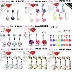 Steel / Acrylic / Flexi Belly Bars Value Pack Wholesale Body Jewellery UK SELLER