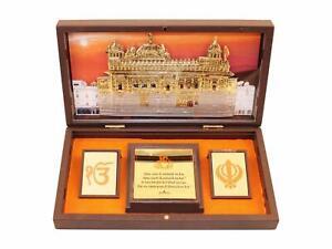 Gold Plated Sikh Satnam Shri Wahe Guruji Photo Frame for Gift Home Decor