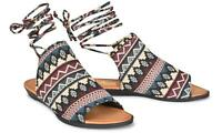 Sociology Asia Women's Ankle-Wrap One-Band Slide Sandals -Navy Mix Size-7 New