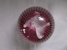 Caithness Paperweight Cauldron Ruby by Innes Burns 1982