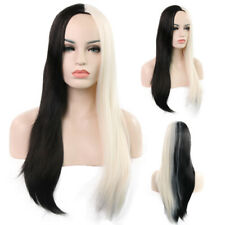 Fashion Lady Long Straight Hair Black & White Wig Headgear Fiber Hair Wig