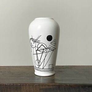 Modernist Geometric Graphic Vase