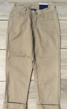 "3 Youth Teen School Uniform Capris Size 12 27""W 17""L Waistband Khaki Stretch Gir"