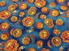 Laurel Burch - Celestial Dreams - Sun And Moon -  Blue Metallic - 100% Cotton