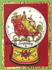 CHRISTMAS SLEIGH SNOW GLOBE Wood Mounted Rubber Stamp NORTHWOODS P10112 New