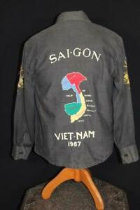 VINTAGE VIETNAM WAR ERA 1967 SAIGON COTTON EMBROIDERED SOUVENIR JACKET SIZE MED