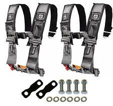 """Pro Armor 4 Point Harness 3"""" Pad Seat Belt Pair With Mount Kit Silver YXZ 1000R"""