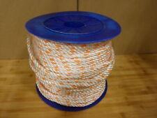 "3/8"" 250 ft Dacron Polyester Rope White Orange"