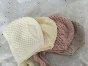 Hand Knitted Baby Bonnet white/Pink/Cream/Pearl 0/6 Months 1 Supplied