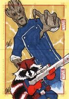 Marvel 75th Anniversary ROCKET RACCOON & GROOT sketch card puzzle Vicente Redg