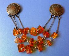 Vintage Art deco Latvia USSR jewelry Baltic Amber 15psc gems Brooch Double SAKTA