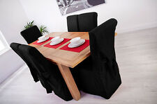 Set of 4 Black Linen Fabric Dining Chair Covers for Scroll Top High Back Leather