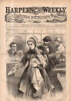 1869 Harpers Weekly February 20 - Ice Velocipede; Waiting for Valentine's Cupid
