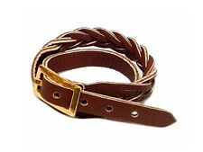 Ladies Brown Leather Bracelet Woven Weave Multilayer Double Strap Wrap Around