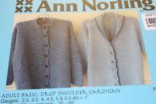 Ann Norling Knitting Pattern Adult Drop Shoulder Cardigan 36-68