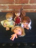 Vintage Small 4 Doll Lot Made in Hong Kong Polly Red Hair Freckles Pigtails