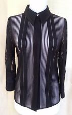 Costume National Black Sheer Stripe 3/4 Sleeve Button Down Blouse Size 42