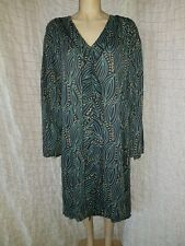 Gudrun Sjoden teal leave print long sleeve 100% lyocell ruffle front dress XXL