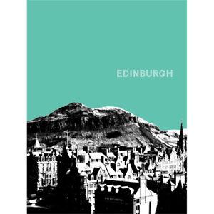 Arthurs Seat Edinburgh Scotland Scottish Landmark Teal Art Print Poster