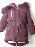 GIRLS MATALAN AGE 6 YEARS MAROON HOODED PADDED QUILTED COAT JACKET KIDS