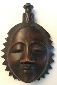 Decorative Wooden Carved Mask Wall Hanging Eskimo Oriental Asian Woman Face