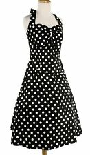 60's Pinup Rockabilly Black and White Polka Dot Halter Dress