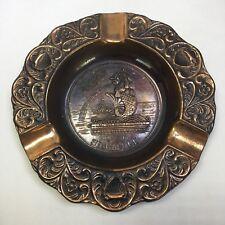 "New listing Vintage Metal Copper Lion City Singapore Nautical Ashtray 5"""