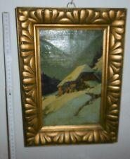 öl bild alt antik signiert jos braunbarth winter landschaft hütte hof ca 1910
