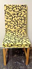 Yellow And Black Sure Fit Soft Stretch Spandex Pattern Chair Covers 4 Pcs