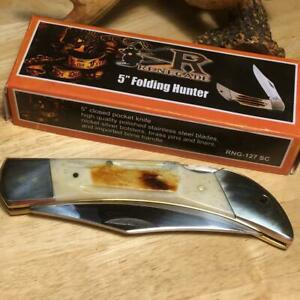 """Frost Cutlery Renegade 2nd Cut Bone Lockback Folding Hunter 5"""" Knife  FRNG127SC"""