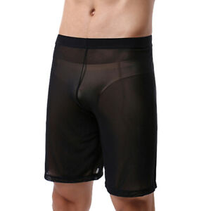 Sexy Men Sheer Homewear Underwear Mens Boxers Shorts Sleepwear Lounge Pants