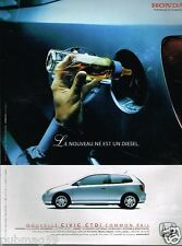 Publicité advertising 2002 Nouvelle Honda Civic CTDi Common rail