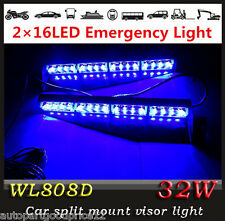 32W Car Pickup Visor Emergency 2x16Led Warning Flash Split Mount Deck Dash Light