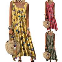 Womens Summer Beach Holiday Maxi Long Dress Boho Hippie Baggy Sundress Plus Size