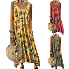 Women Boho Hippie Sleeveless Maxi Dress Beach Holiday Plus Size Loose Sundress