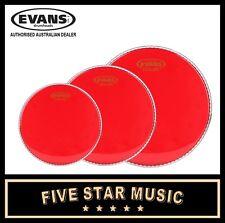 "EVANS HYDRAULIC RED 3 PCE DRUM SKIN SET 12"" 13"" 16"" HEADS TRANSPARENT RED"