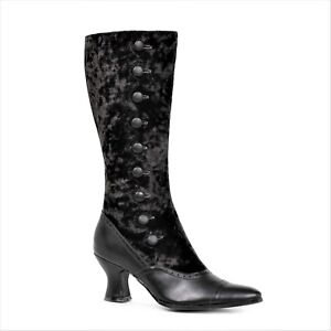 Black Steampunk Victorian Edwardian Historical Period Womans Costume Boots
