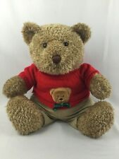 "16"" Stuffed Plush Brown Teddy Bear in Red Sweater Snuggle Toy Gift Oversize"