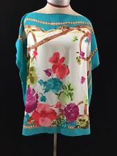 Diane Gilman handkerchief scarf blouse top size L XL aqua floral sequins DG2
