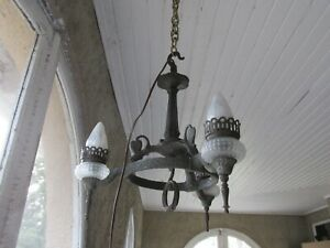 Unusual Vintage Iron Chandelier Spanish Style Gothic Rustic
