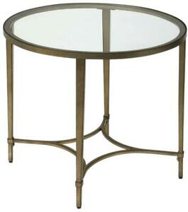 END TABLE SIDE CONTEMPORARY OVAL ANTIQUE GOLD DISTRESSED METAL TUBE TEM