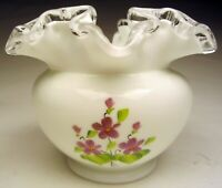 Vintage Fenton Violets in the Snow Silver Crest Rose Bowl Vase #7254DV 1969-1974