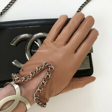 NEW CHANEL TAN LEATHER SILVER CC LOGO CHAIN AROUND GLOVES 8.5
