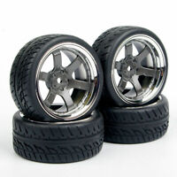 4PCS On Road Rubber tires & Wheel rims 26mm Wide Fit HSP HPI 1:10 RC Car Toys