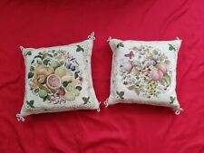 Vintage Peking Handicraft Wool Needlepoint Fruits Butterfly Decor Pillows lotX 2