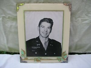 """1940's Glass & Metal Decorative Pictured Frame / 10"""" x 12"""" / RONALD REAGEN Photo"""