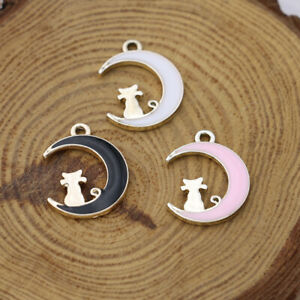 10Ps Enamel Moon Cat Charm Pendant Jewelry Making Necklace DIY Accessories
