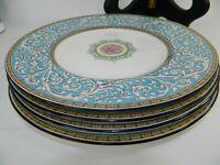 """Wedgwood Bone China Praze Turquoise 9"""" Luncheon Salad Plates Set Of 4"""