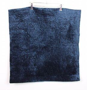 Restoration Hardware Euro Velvet Pick Stitch Single Sham Dark Indigo Blue NWT